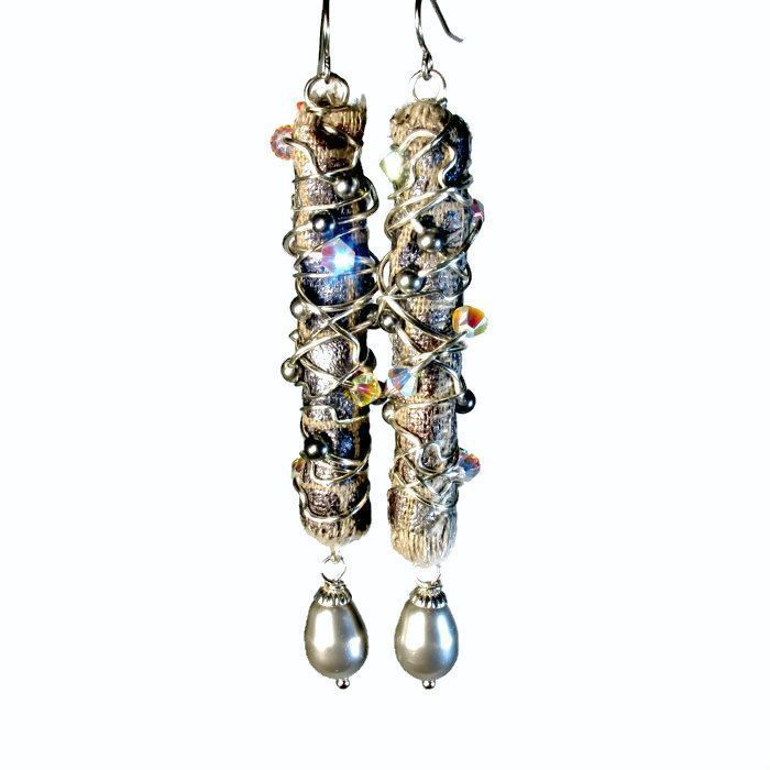 Fiber art jewelry; earrings and necklaces made from fabric, ribbon then wire wrapped with glass beads. My newest line of upcycled jewelry made from my fabric and wire stash. I just love all of the ...