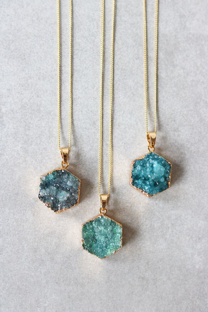 """Up your long necklace game with this Druzy hex pendant. Details: - 28"""" - Lobster clasp closure - Gold plated metal chain - Last photo shows Dusty Blue, Emerald, and Teal, in that order"""