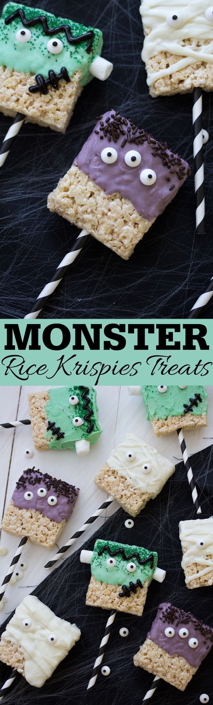 Turn rice krispies treats into adorable monsters for Halloween with just a few ingredients. Step by step decorating instructions for Frankenstein, Mummy and Three Eyed Monsters.