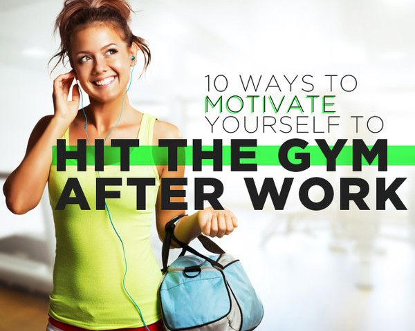 10 Ways to Motivate Yourself to Hit the Gym After Work  http://www.womenshealthmag.com/fitness/after-work-gym-motivation?ocid=soc_Pinterest_Fitness_July14_afterworkmotivation