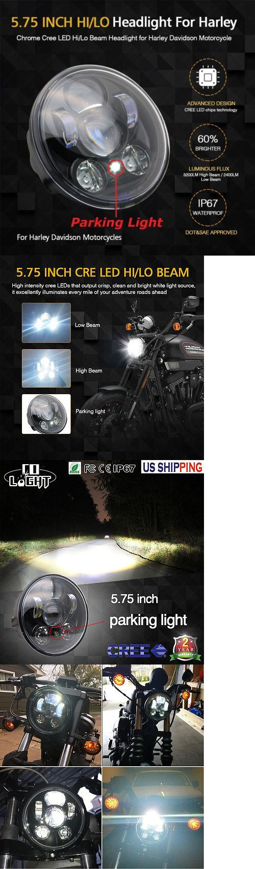 motorcycle parts: Colight 5-3 4 5.75 Led Daymaker Headlight For Harley Sportster Xl 883 1200 Dyna -> BUY IT NOW ONLY: $39.97 on eBay!