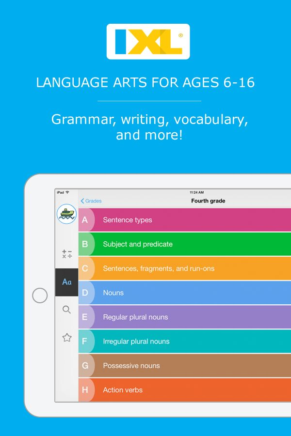 This page of IXL offers a list of language arts skills students learn in ninth grade. These skills are organized into categories, and you can move your mouse over any skill name to view a sample question.