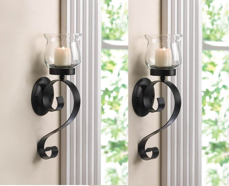 2 Black Iron Artisanal Sconce Wall Mount Hurricane Garden Candle Holder Set  PAIR By Sallyashop U003eu003eu003e Be Sure To Check Out This Awesome Product. Good Ideas
