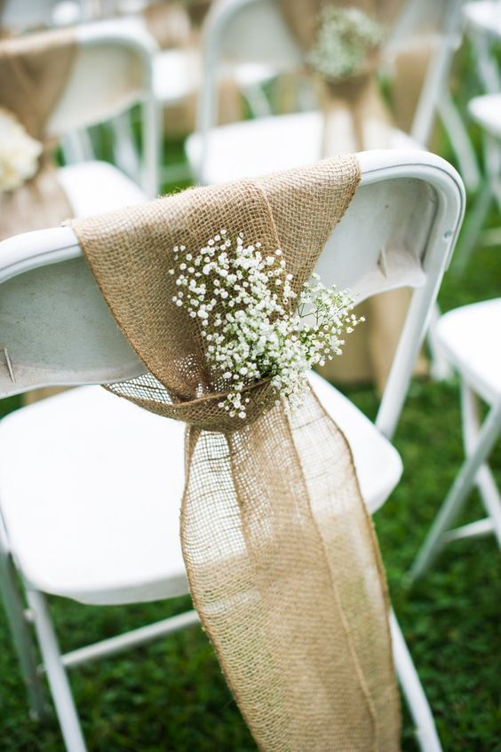 DIY Vintage Barn Burlap Wedding Ceremony chairs / http://www.himisspuff.com/rustic-babys-breath-wedding-ideas/2/