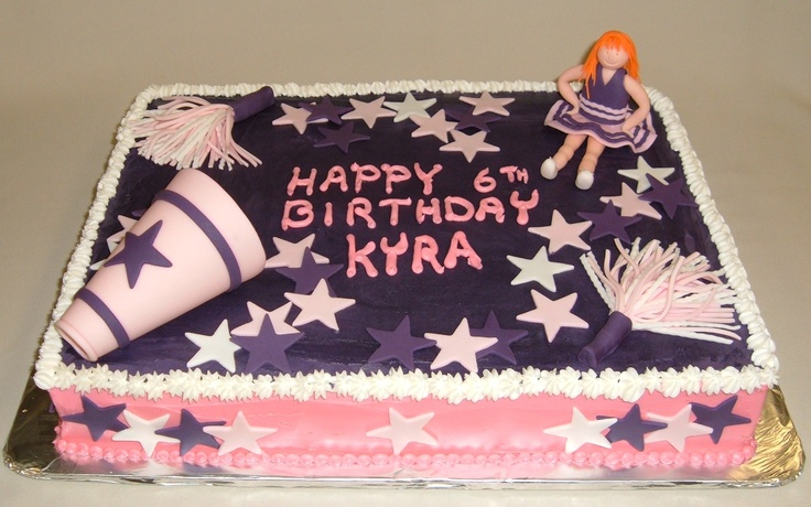 Custom Cheerleader Cake with Fondant detailing!  Happy 6th Birthday Krya!