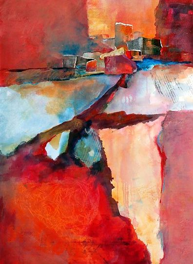 """ADOBE VIEWS"" - Mixed Water Media Collage, in Abstract Landscapes on Paper:"