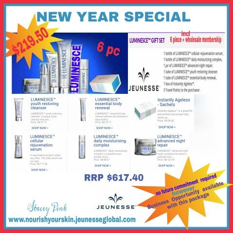 Fantastic Value for this New Year Package. A saving of $400 off RRP. Includes 6 items + a wholesale  membership for $219.50 (+ post) Luminesce Skin Care Range is derived from world first Adult Stem Cell Technology & uses human growth factors that communicate with your skin on a cellular level.  Instantly Ageless is a topical cream that temporarily removes lines, wrinkles & puffiness in just 2 minutes.  Order online at www.nourishyourskin.jeunesseglobal.com