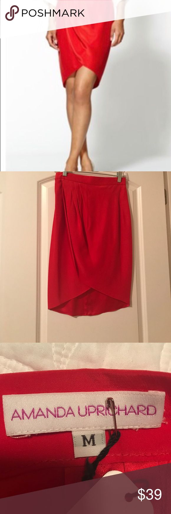 👛CLOSEOUT👛 Amanda Uprichard Tulip Skirt NWT 100% Silk red tulip skirt by Amanda Uprichard. If you've ever owned any of her line you know how great it is! Great buy! Amanda Uprichard Skirts Midi