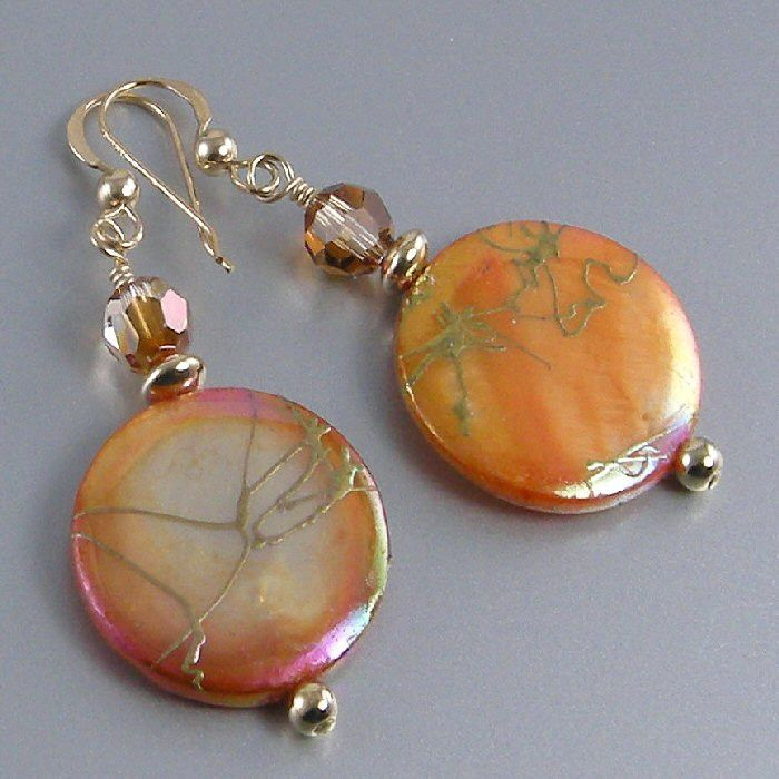 Orange Mother of Pearl, Gold Bead Necklace and Earring Set
