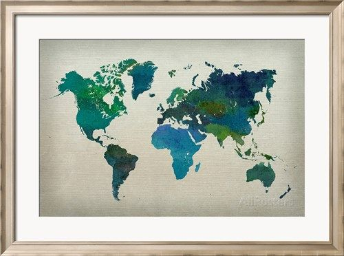 World Map Watercolor (Cool) Posters - AllPosters.co.uk