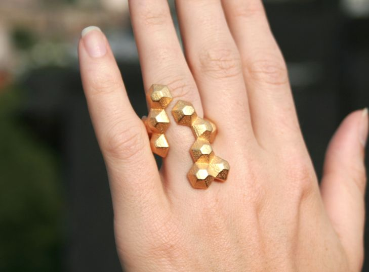 Yellow gold modern geometric 3D printed ring via Etsy.