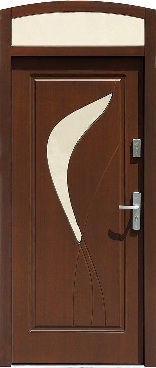 Drzwi z naświetlem górnym z szybą wzór 458,1 w kolorze orzech.