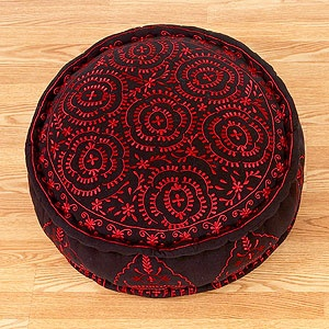 Black Round Embroidered Floor Cushion - Cost Plus World Market