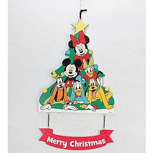 "-15"" Mickey and Gang Tree Christmas Hanging Sign"