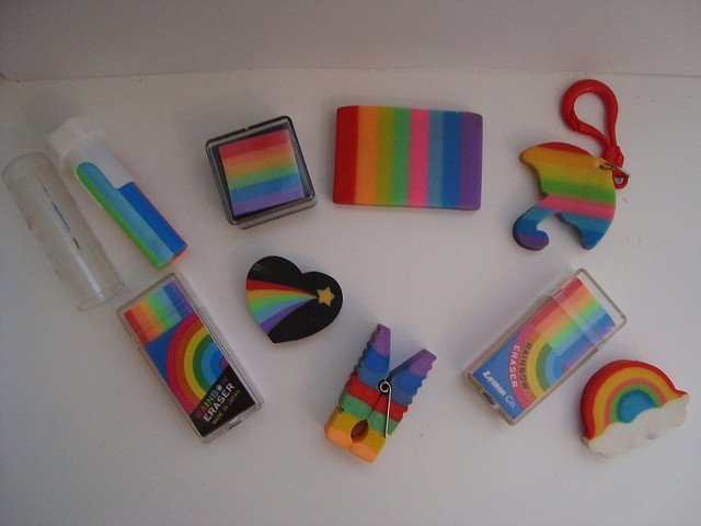 Rainbow erasers! I had the heart one in red!