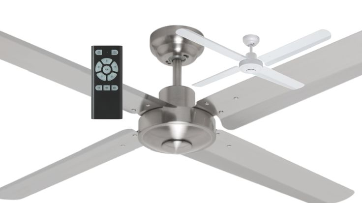 """Mercator+Sirocco+DC+Ceiling+Fan+52""""+Metal+Blade+w/+Remote+White+or+Brushed+Chrome+FC400134, $229.00"""