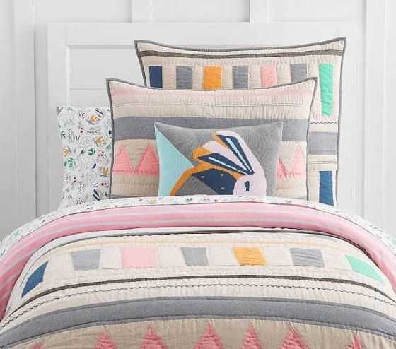 Coral Twin Bedding Striped Quilt Quilt Bedding