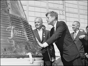 "On September 12, 1962, JFK delivered his famous ""Moon Speech"" at Rice University in Houston. He challenged Americans to land on the moon before the end of the 1960s.    ""We choose to go to the moon in this decade and do the other things, not because they are easy, but because they are hard.""  MOre - http://www.ldcfitzgerald.com/half-a-century-ago-jfks-historic-speech-inspired-moon-landing/"