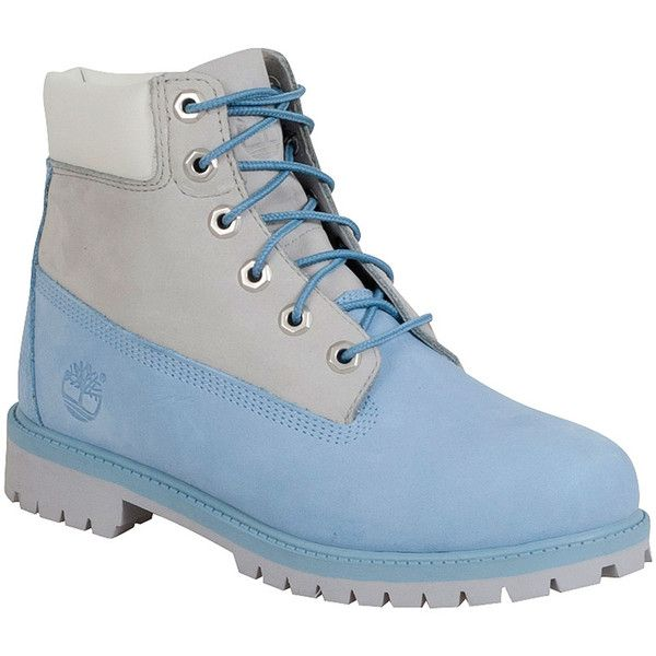 Timberland Women's Premium 6-Inch Light Blue Limited Edition Boot ($130) ❤ liked on Polyvore featuring shoes, boots, blue, lace up shoes, blue boots, waterproof shoes, timberland boots and lace front boots