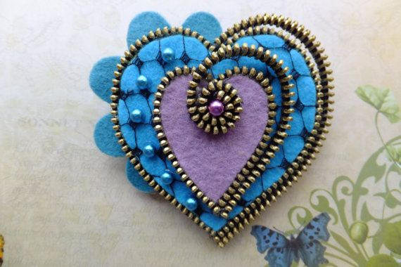 Heart Felt and Zipper Brooch by MsLolaCreates on Etsy, $25.00