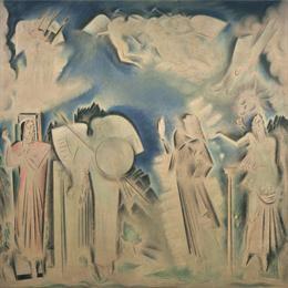 Παρθένης Κωνσταντίνος (1878/1879 - 1967) Αποθέωση του Αθανασίου Διάκου, πριν το 1933 Λάδι σε καμβά , 380 x 380 εκ. Δωρεά Σοφίας Παρθένη , Αρ. έργου: Π.6506