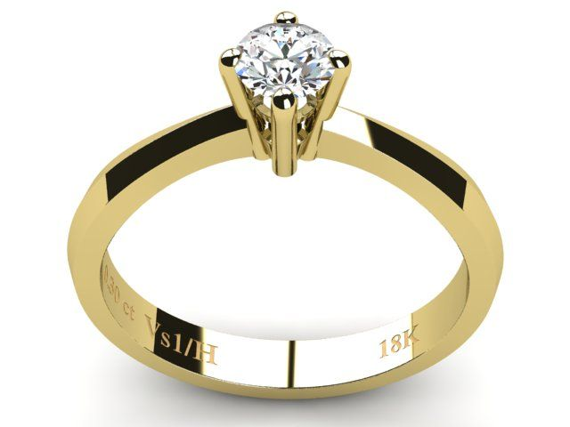 Yellow Gold Solitaire Diamond Ring 0.30ct - Paul Jewelry