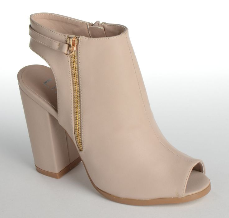 GABBI Block Heeled Sling Back Peep Toe Shoe Boot with Gold Outer False Zip Detail