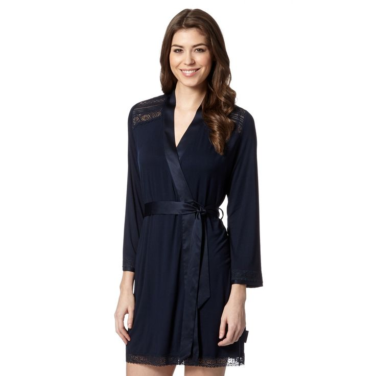B by Ted Baker Navy lace trim jersey wrap- at Debenhams.com