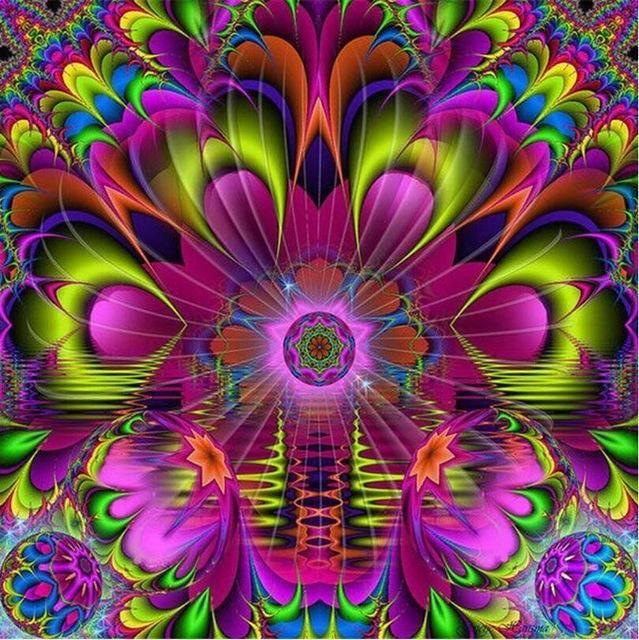 5d diy diamond painting lime magenta floral fractal mandala