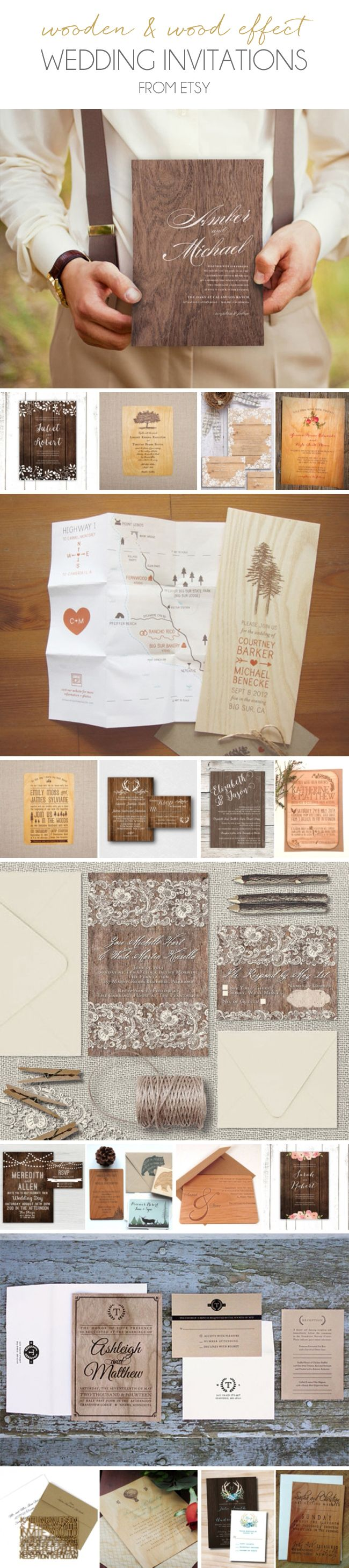 20 Wooden & Wood Effect Wedding Invitations from Etsy
