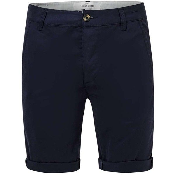 TOPMAN Navy Stretch Skinny Chino Shorts (89 BRL) ❤ liked on Polyvore featuring men's fashion, men's clothing, men's shorts, navy, old navy mens shorts, mens stretch shorts, mens navy blue chino shorts, old navy mens clothing and mens navy chino shorts