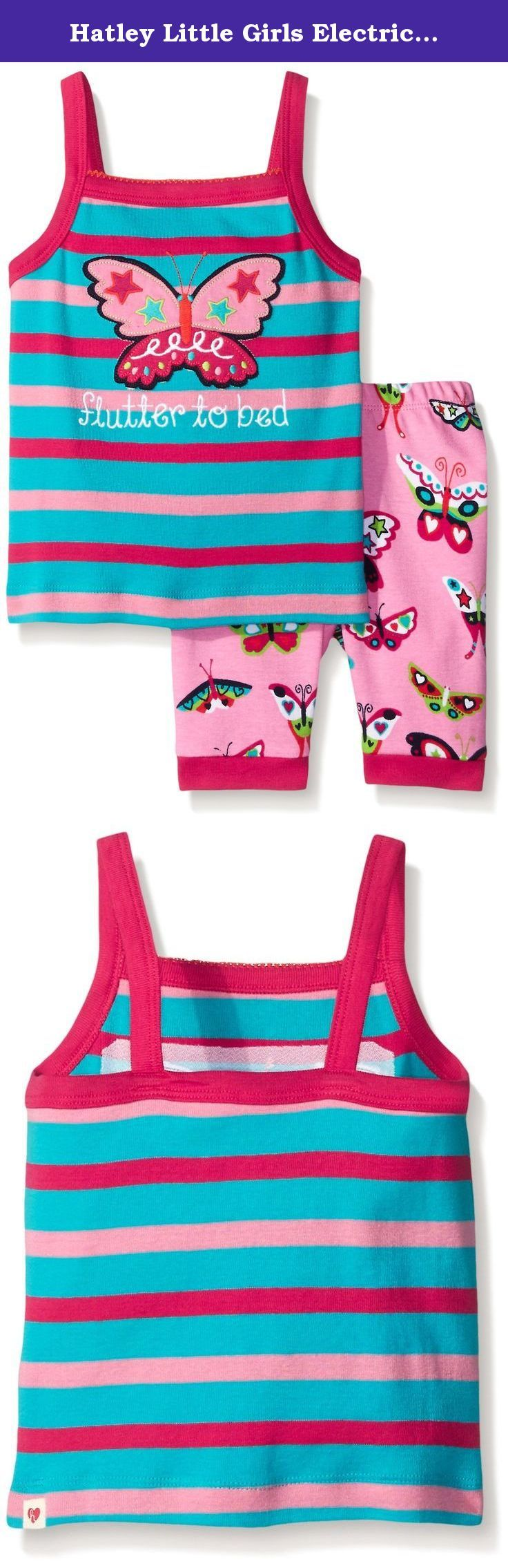 Hatley Little Girls Electric Butterflies Tank Pajama Set, Pink, 7. Let's face it bedtimes are tough. Between bath time, teeth brushing, stories, glasses of water and everything else necessary to send your little animal off to dreamland it can wear a parent out. Unfortunately, Hatley pajamas will not help with any of that. Sorry. However, they are made from super soft cotton with fun designs that she'll hopefully love to wear and that will last wash after wash. We leave the rest up to you....