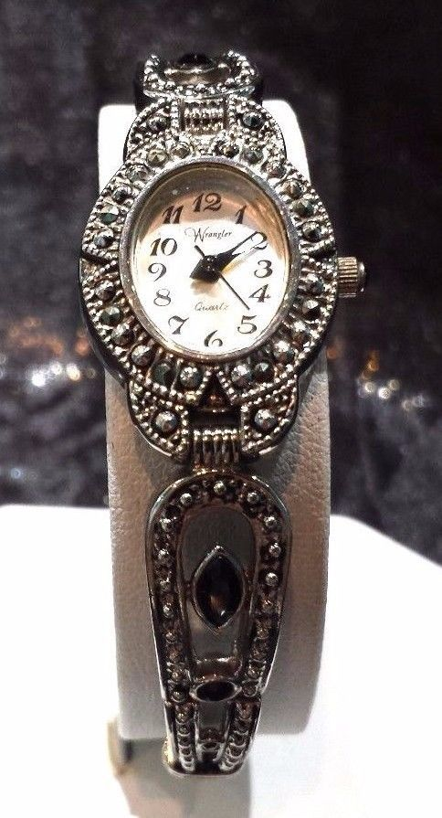 Vintage Ladies Silver Black Onyx And Marcasite Watch By