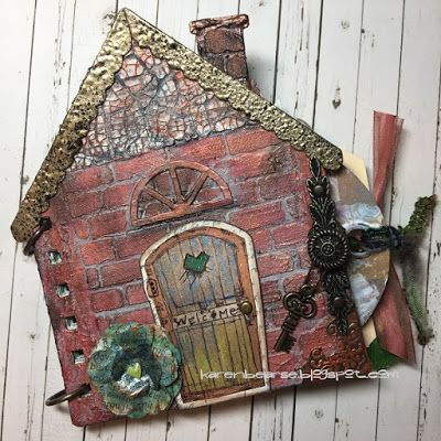 Karen Bearse Designs: Eileen Hull Mix Media House Album with Stampotique...
