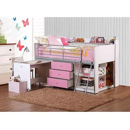 Savannah Storage Loft Bed With Desk White And Pink Loft