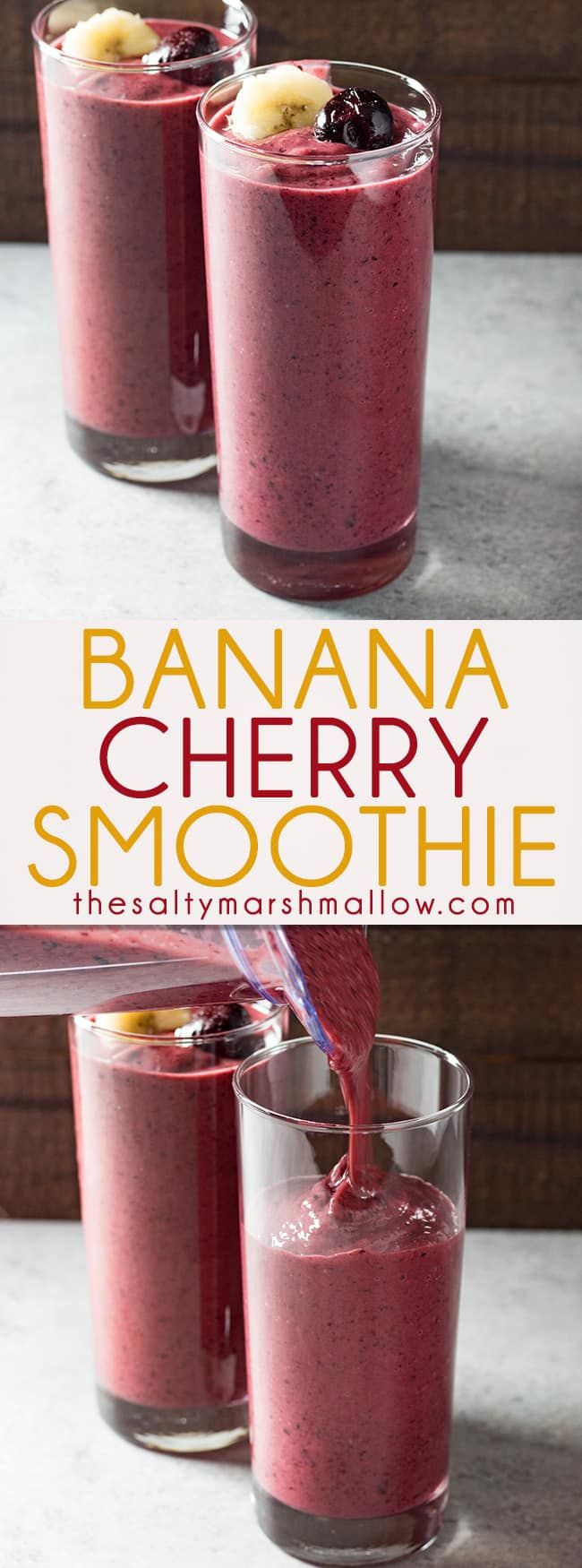 Banana Cherry Smoothie - A favorite healthy smoothie recipe that's perfect for breakfast, lunch, or just a healthy snack.  My kids love to make this easy fruit smoothie with me!