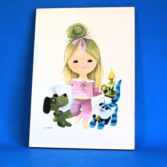 Big Eyed Kitsch Girl with Puppy and Kitten Print  By by FunkyKoala