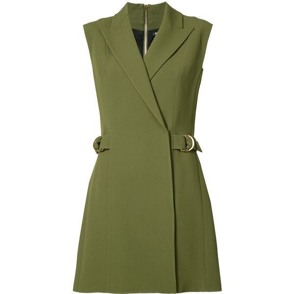 Balmain sleeveless day dress (15050 MAD) ❤ liked on Polyvore featuring dresses, green, buckle dresses, no sleeve dress, short dresses, sleeveless short dress and green color dress