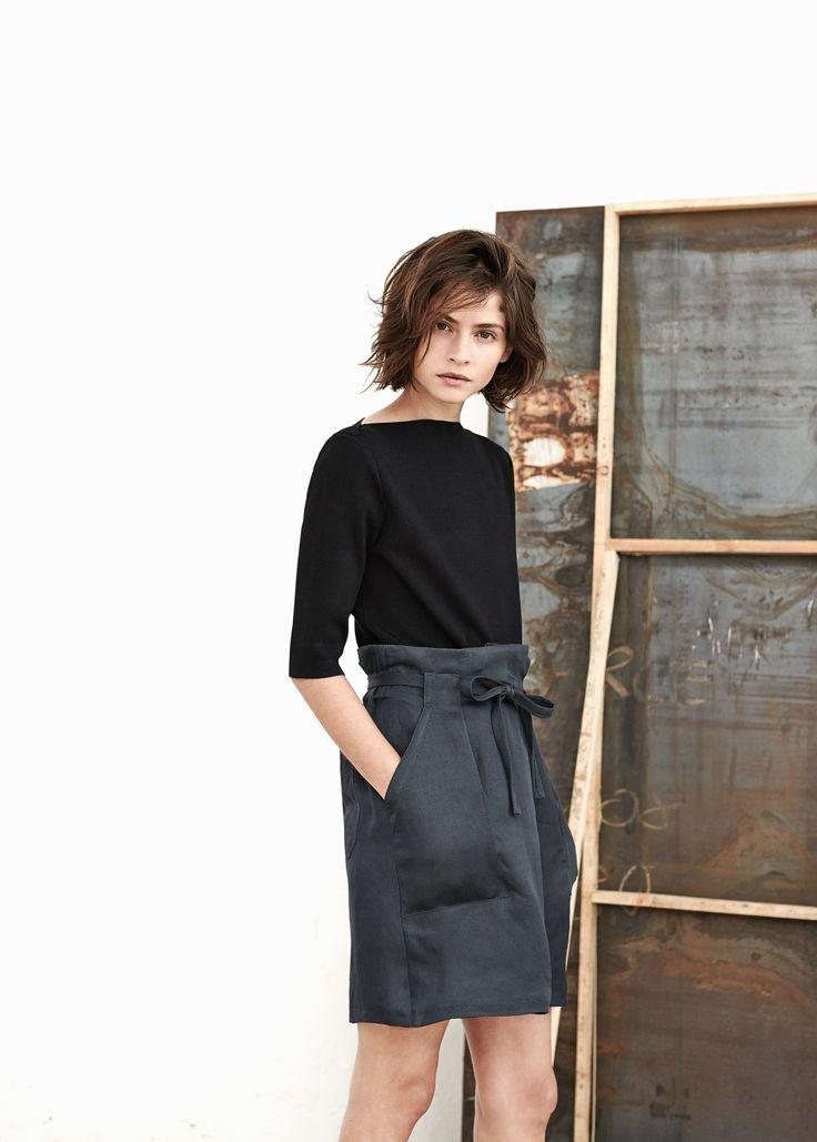 PREMIUM - Linen-blend bow skirt