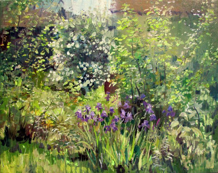 Созерцание - Картина,  50x40x2 cm ©2016 - Igor Pautov -                                                            Импрессионизм, Холст, Времена года, пейзаж, лето, сад, цветы, le jardin