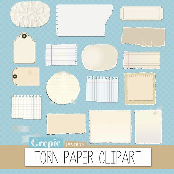 Torn paper clipart pack: torn pieces of paper and worn out post-it notes from old notebooks for scrapbooking, card making, invites by Grepic on Etsy https://www.etsy.com/listing/153654878/torn-paper-clipart-pack-torn-pieces-of