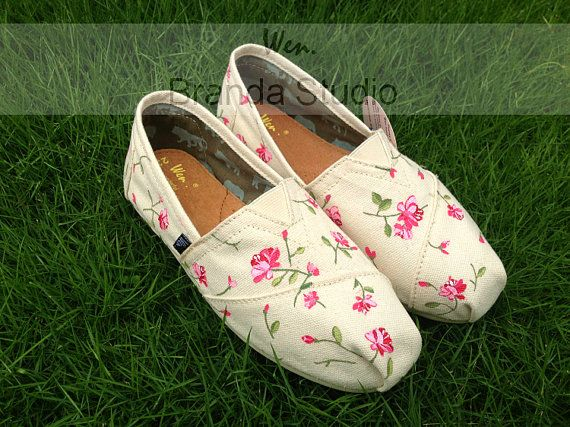 Natural,2013 New Style Fresh Floral,Studio Hand Painted Shoes Custom Shoes,Canvas Shoes,100% Hand Painting-Wen's fashion shoes