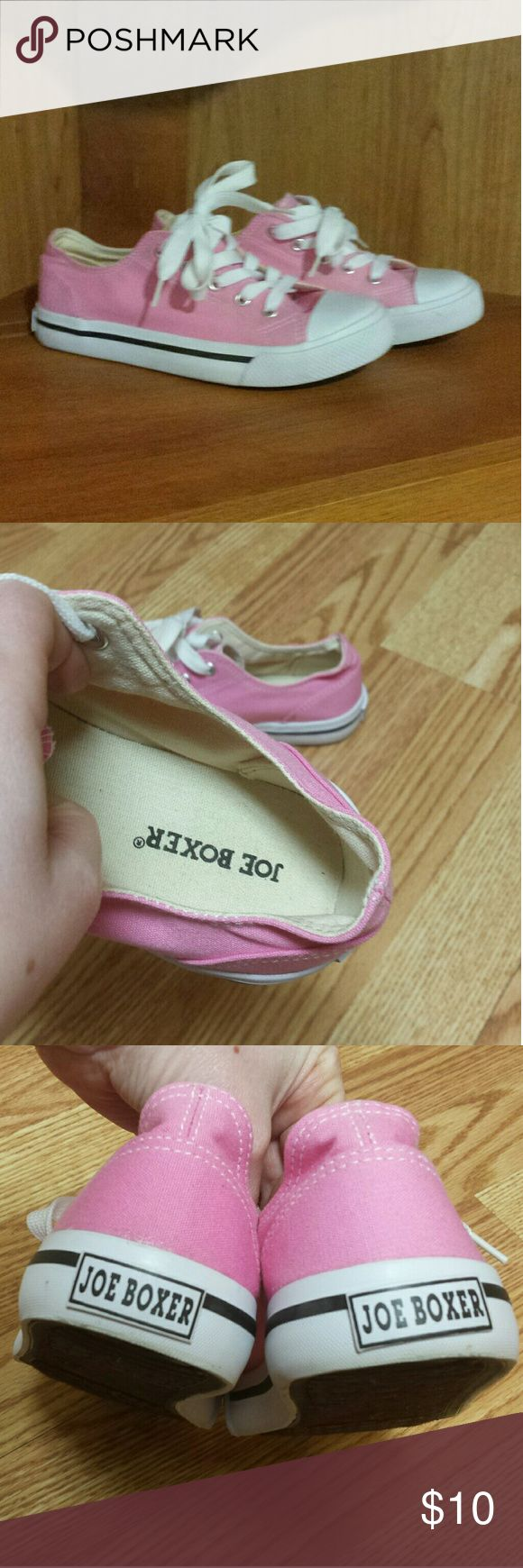 Joe Boxer pink converse like shoe's Joe Boxer pink converse like shoe's. Worn once, has few wear spots as shown in pictures. Kids size 4m. In great used condition. Joe Boxer  Shoes Sneakers
