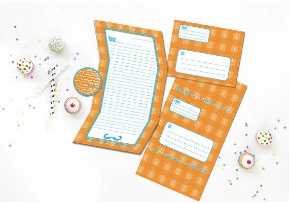 Moustache Camp Stationery - Camp Stationary Set -  Fold and Seal Tween Camp Stationery