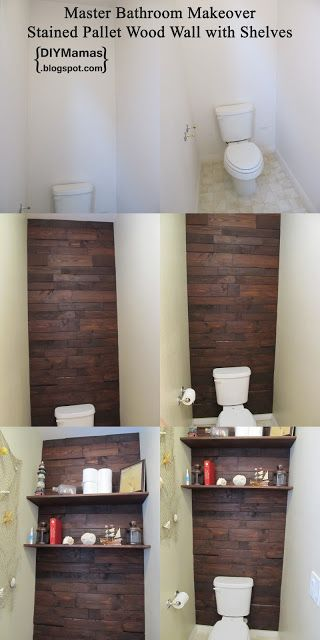 DIY Mamas: Master Bathroom Makeover! {Stained Pallet Wood Wall with Shelves}. The wall is amazing (though I dislike the blogger's choice of having netting on the side wall).