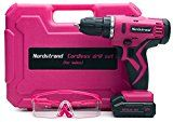 Nordstrand Pink Cordless Drill Set  Electric Screwdriver Power Driver Kit for Women  12V Rechargeable Li-Ion Battery  Starter Tool Box for Ladies with Storage Case Bits Drills & Safety Glasses