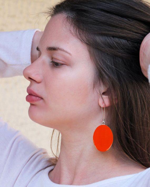 Tangerine orange earrings long earrings orange resin by xroma