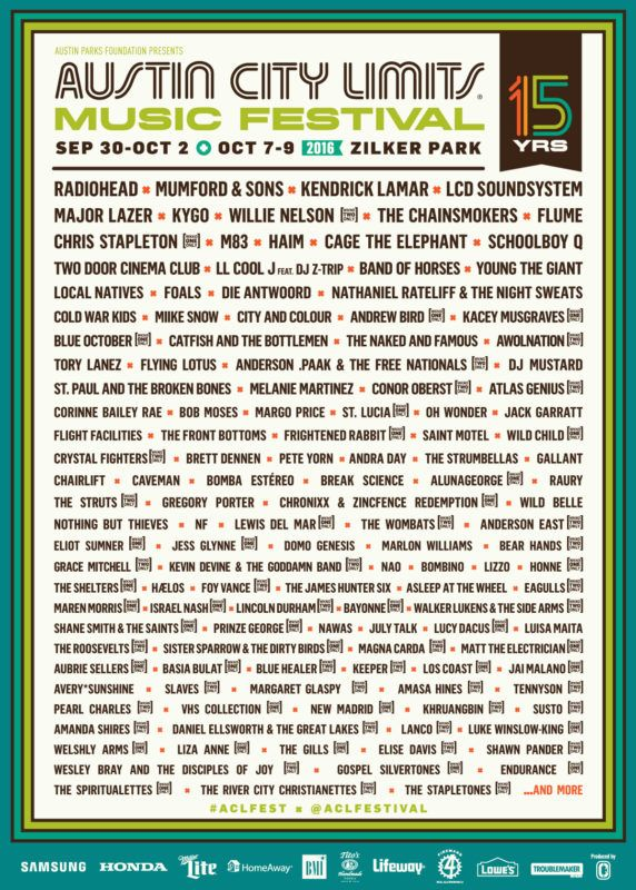 Austin City Limits Music Festival 2016 Lineup