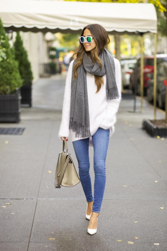 white fuzzy sweater from Intermix
