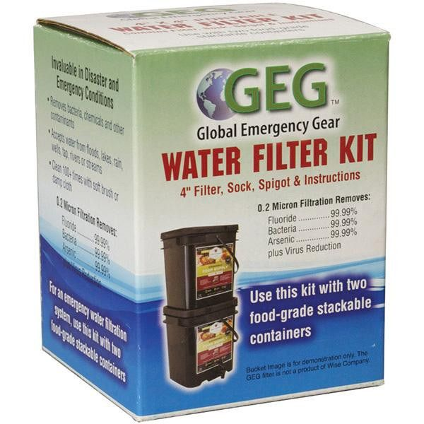 Global Emergency Gear Water Filter Kit 4 Inch Filter Sock and Spigot